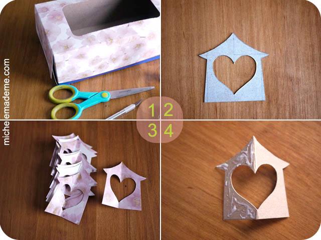 Домики-подвески из открыток Paper+Hanging+Heart+House+Ornament+steps+1-4