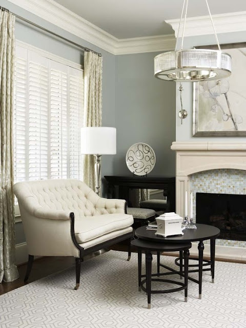 sitting area master bedroom calming blue and white