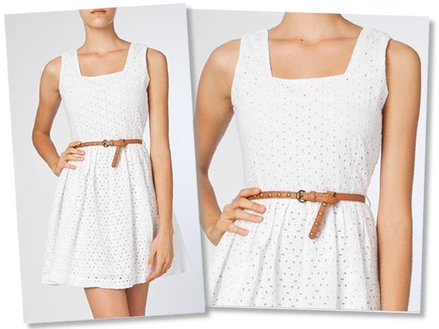 Vestido branco fresquinho de saia com roda.