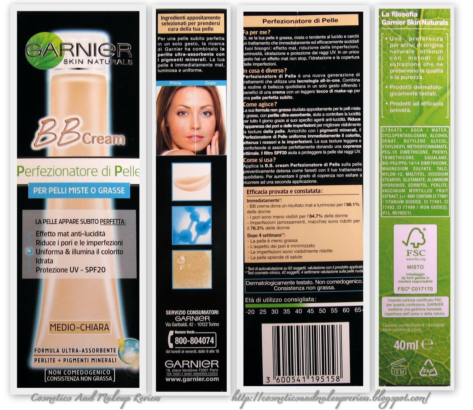 Garnier BB Cream - Perfezionatore di pelle per pelli miste o grasse - colorazione medio-chiara