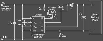 Rangkaian Elektronika Pengisi Baterai Li-On dari Port USB