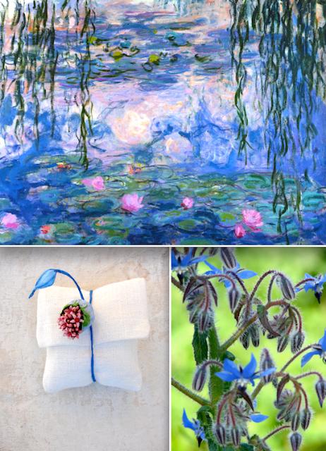 segnaposto con fiori di carta , matrimonio in stile Monet