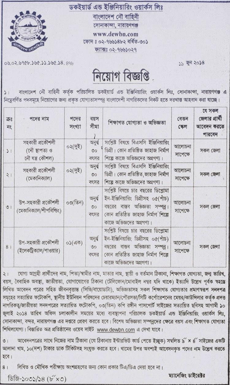 Sub Assistant Engineer At Bangladesh NAVY :