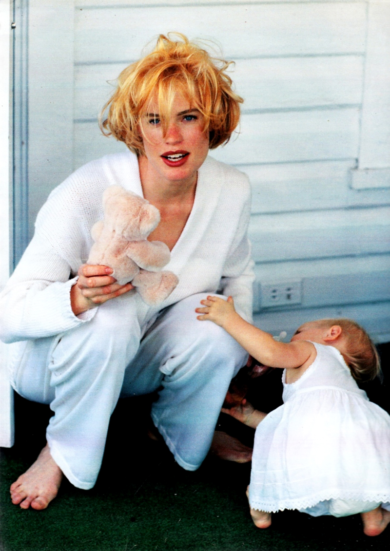 Lara by William Garrett for Marie Claire Italia July 1991 / baby girl, mother & daughter fashion editorials / models & their children / via fashioned by love british fashion blog