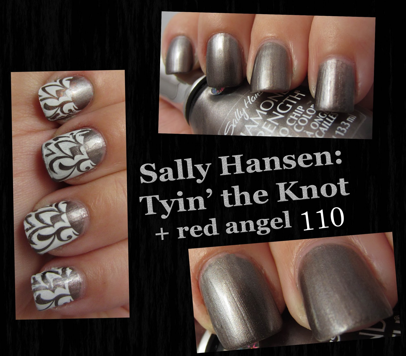used two coats of Sally Hansen Tyin' the Knot; a frosty gunmetal taupe