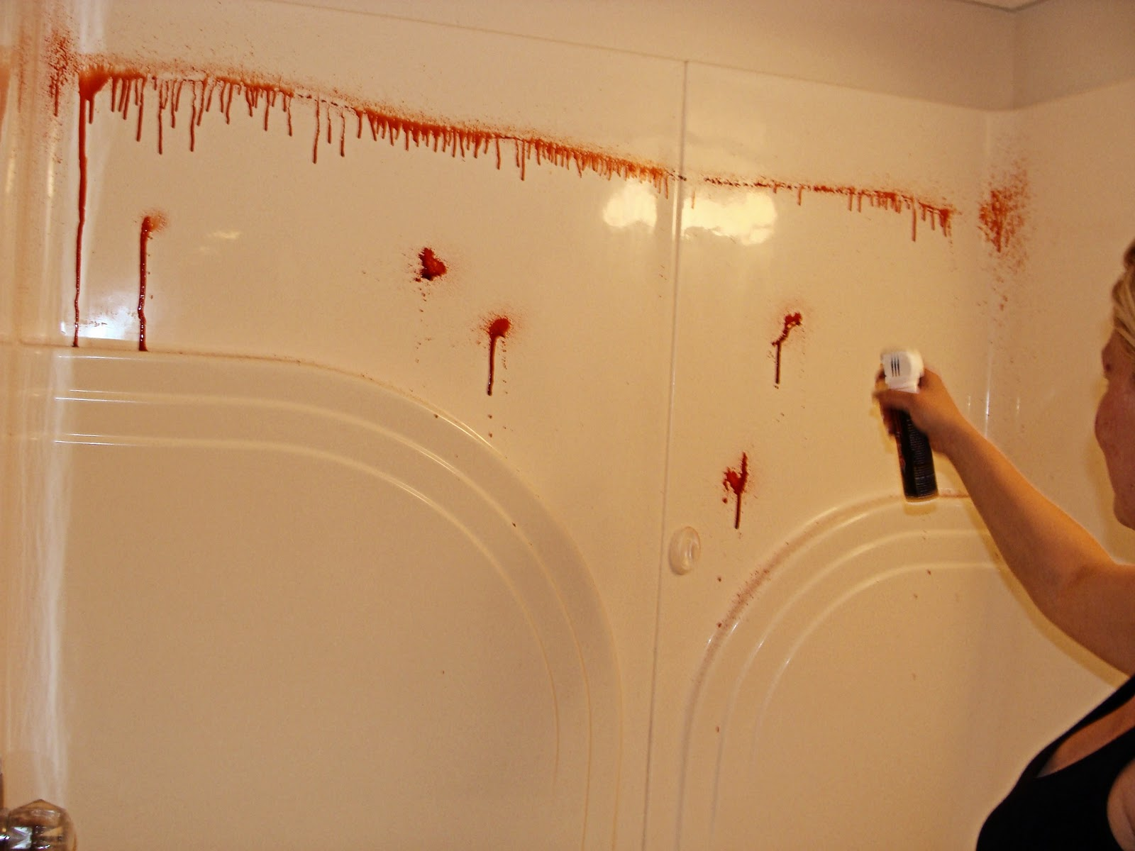 Spray Blood Was Used To Splatter Wash Cloths, Hand Towels And A Thrift  Store Bath Mat.