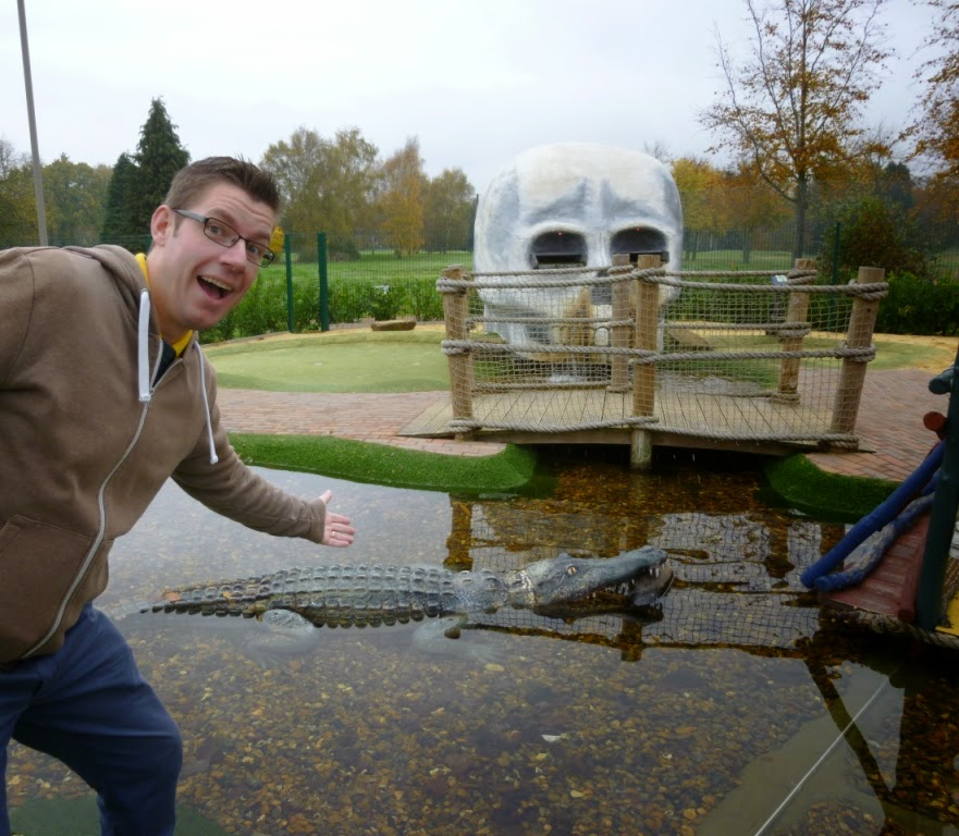 A big old crocodile at the Pirate Island Adventure Golf course in Woking. Thankfully there are handy rafts to traverse the treacherous waters surrounding the minigolf course