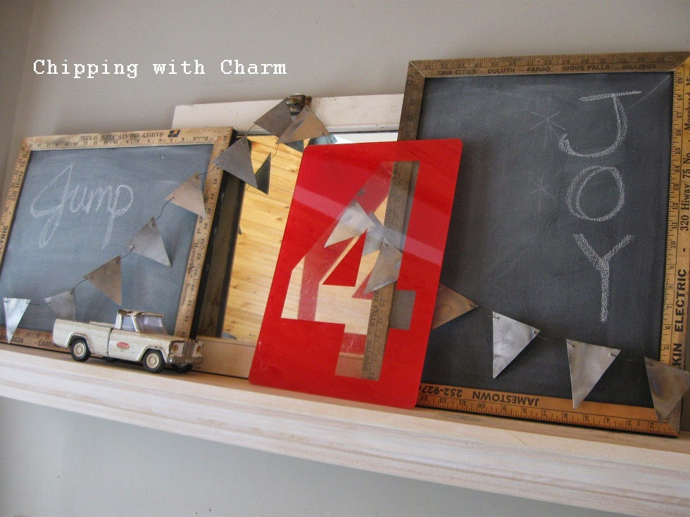 Chipping with Charm:  Jump for Joy Mantel...http://www.chippingwithcharm.blogspot.com/
