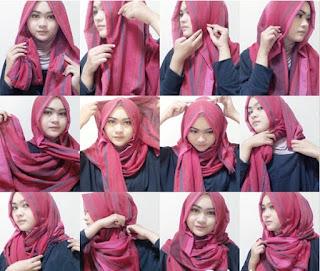 Gambar Tutorial Memakai Hijab Syari Pashmina Viscose Trend Terbaru