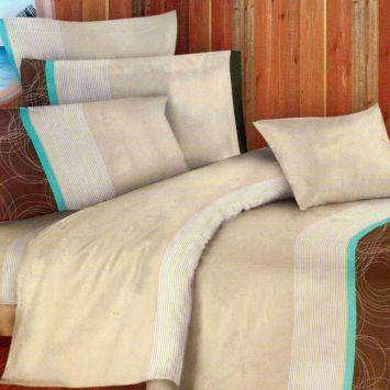 Sprei Chelsea Bed Cover Double Microtex Aquamarine - Krem/Cokelat