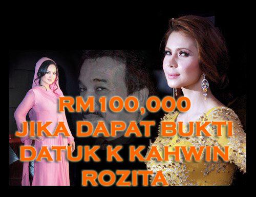 Tawaran RM100K Jika dapat buktikan Datuk K-Rozita berkahwin