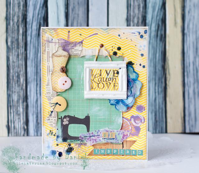 яркая открытка скрапбукинг + акварельные краски