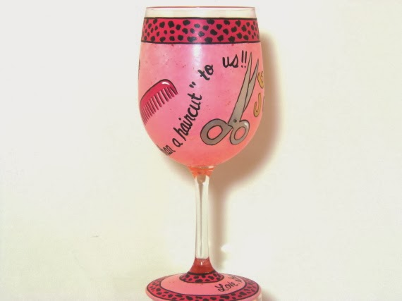 cheetah print hairdresser wine glass