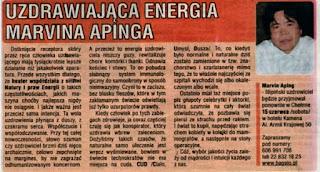 Uzdrawiająca energia Marvina Apinga