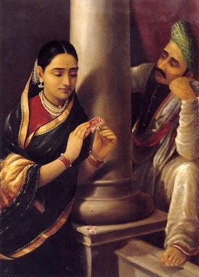 Couple indien, femme à la fleur