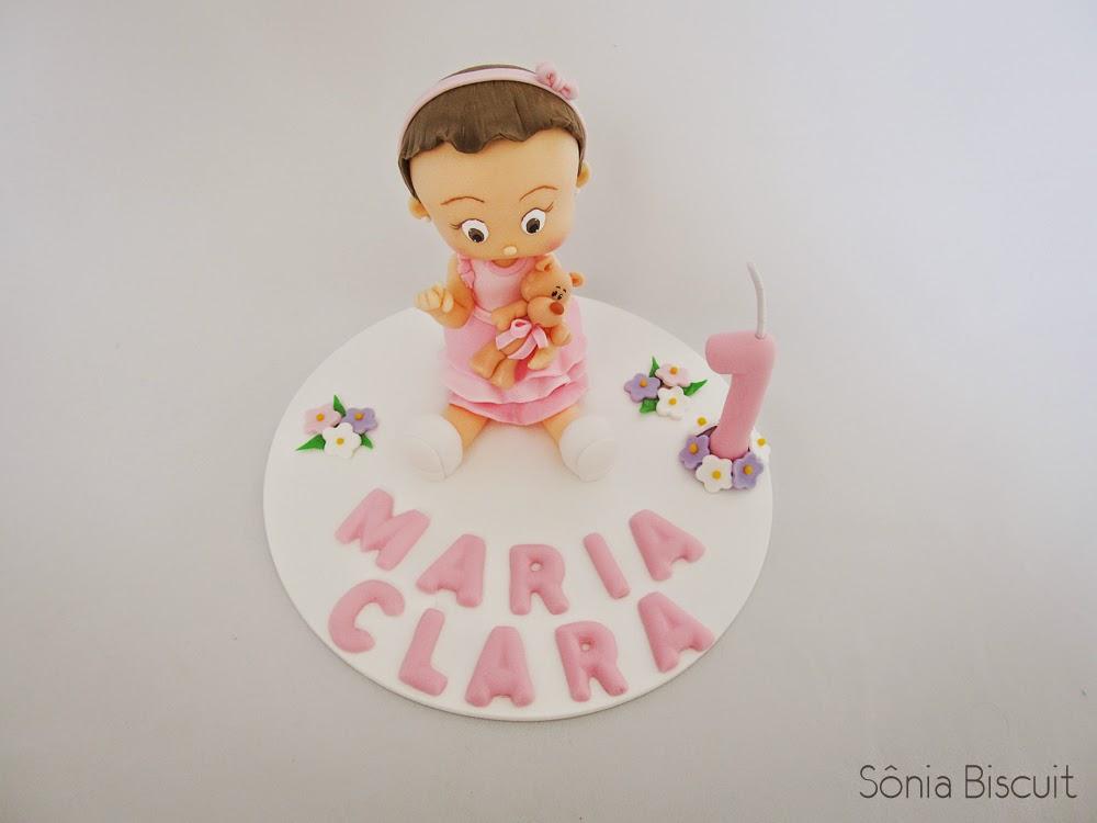 Topo de Bolo Biscuit Primeiro Aninho 1 Ano Aniversário Menina Menininha Bebê
