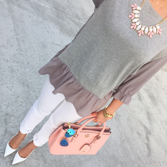 Chicwish my fav grey dolly top Rayban mirror sunglasses Tory burch pink purse BP leaf necklace Manolo Blahnik bb white pumps
