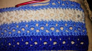 Stripey Lace crochet blanket.
