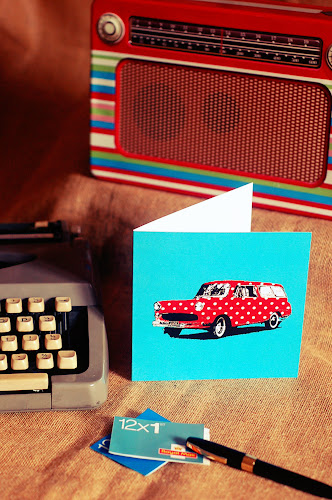 Retro Greeting Birthday Card Polka Dot Car