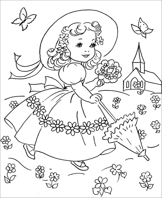 vintage coloring pages of children - photo#36