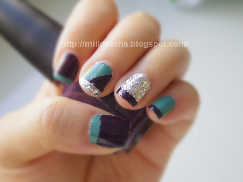 Milktea Cha Nail: Fall nail design: Purple and Teal French Tip