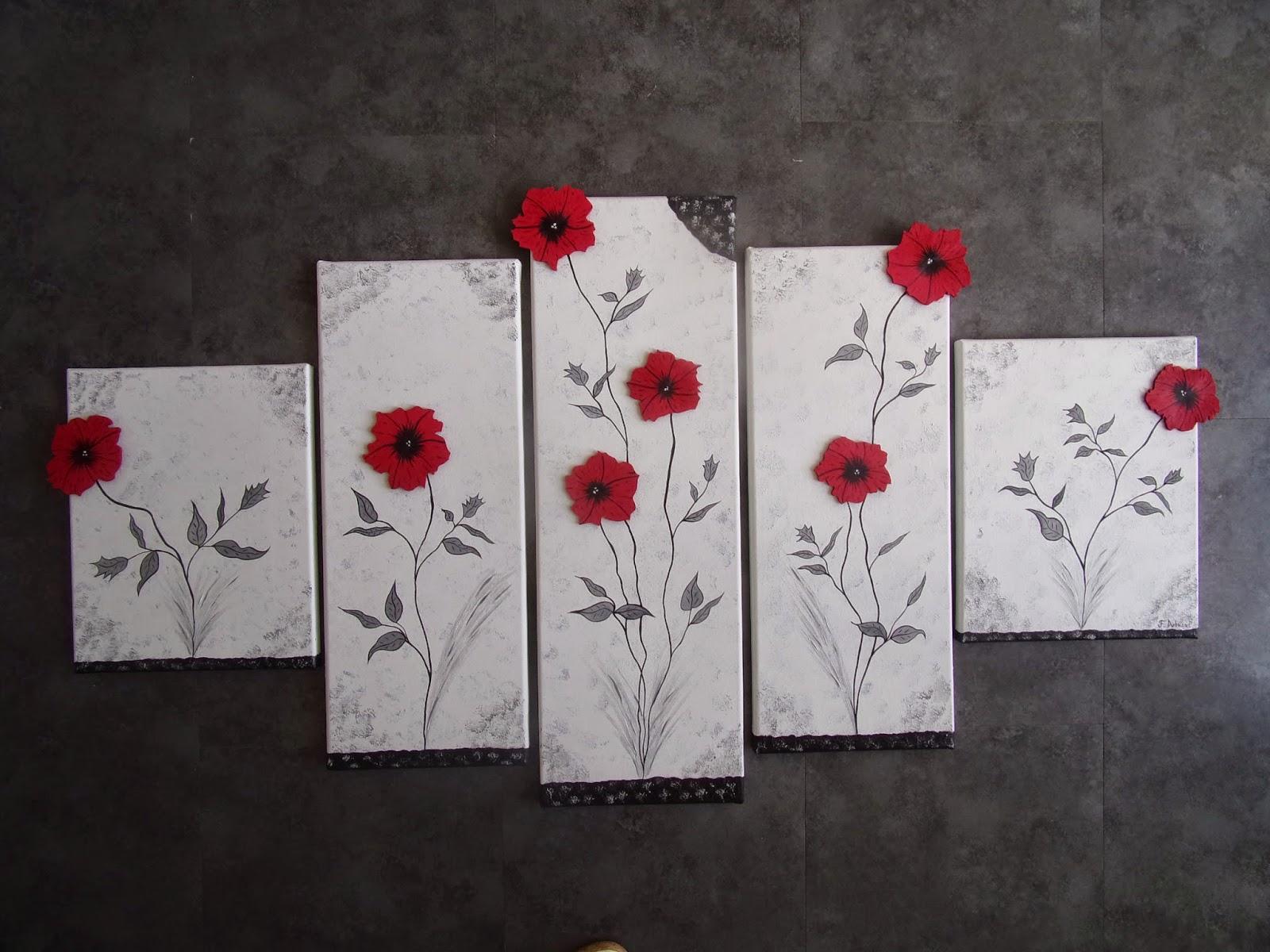 Artiste peintre francine dubosq tableaux fleurs en bois for Tableau blanc et rouge