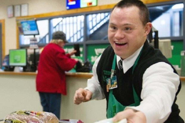 down syndrome worker at a restaurent