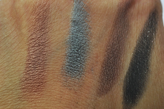Swatches: MAC An Amorous Adventure Eye Shadow Quad:  Sable, Sex and the Oyster, Brawn, Black Tied