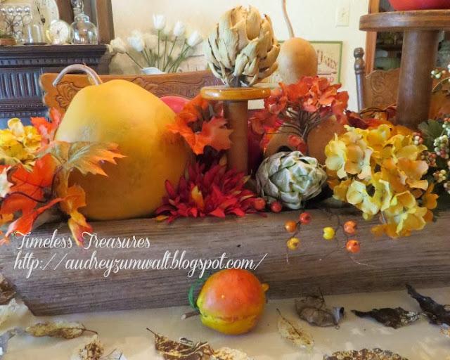 diy aged wooden trough fall table decor