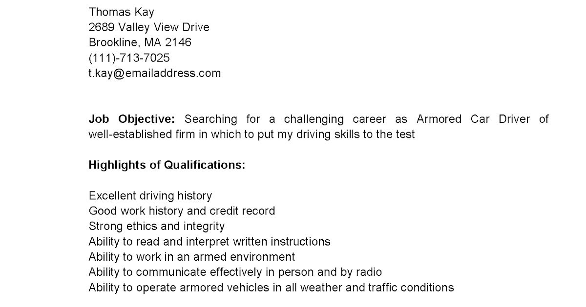 driver resumes armored car driver resume sample - Sample Resume For Armored Truck Driver
