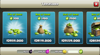 Cara Mudah Beli Gems COC (Clans Of Clans) Via Pulsa Telkomsel, XL, IM3 dan Indosat