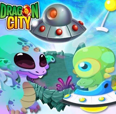 Dragon City esta sendo invadida por aliens! não, não, é apenas mas