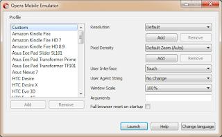 tampilan awal opera mobile emulator