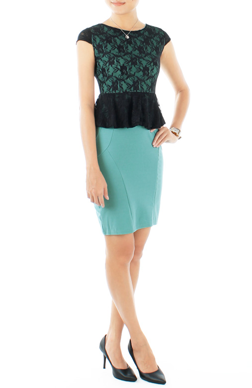 Persian Green Black Love Peplum PETITE Dress