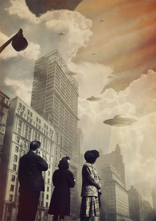 Joseba Elorza MiraRuido illustrations collages surreal vintage Invasion