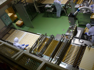Factory floor at the Shiroi Koibito Park showing the joining buiscut and quality control processes
