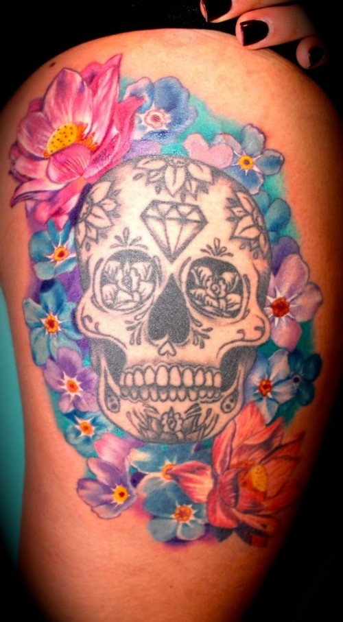 Lets get inked girls girls skull thigh tattoos for Getting thigh tattoo
