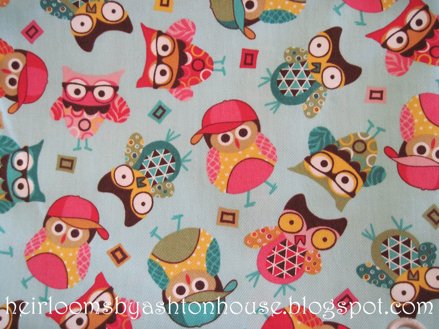 The gallery for owl fabric print for Cute baby fabric prints
