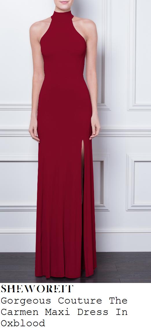 billie-faiers-oxblood-berry-purple-sleeveless-faux-halterneck-maxi-dress-berkley-hotel-nye