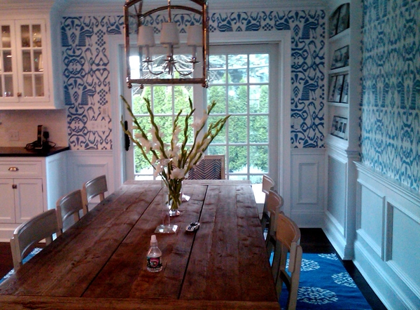 Aesthetic Oiseau Blue And White Wallpaper Kitchens