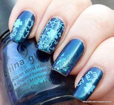 China Glaze Rodeo Fanatic with stamping for Autism Awareness Week