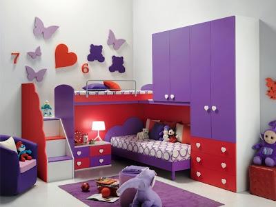 cuarto para niña rosa lila