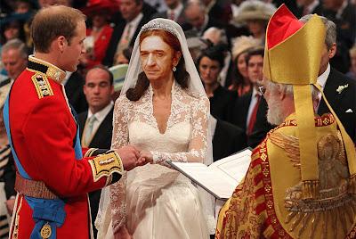 Fotomontaje del príncipe Guillermo y el cantante Rosendo ante el altar