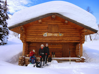 Taking a break during the snowshoe hike in Le Boreon