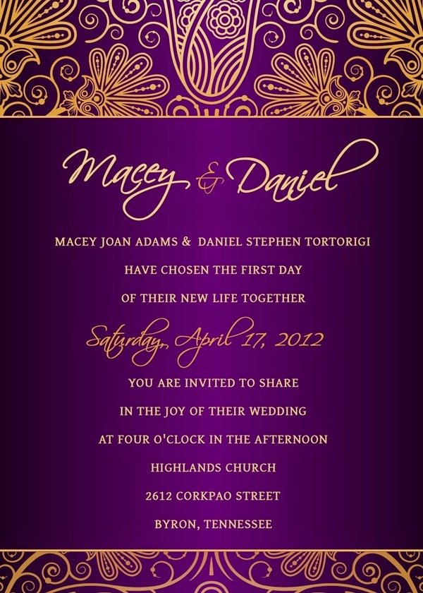 Purple and Gold Wedding Ideas – Gold and Purple Wedding Invitations