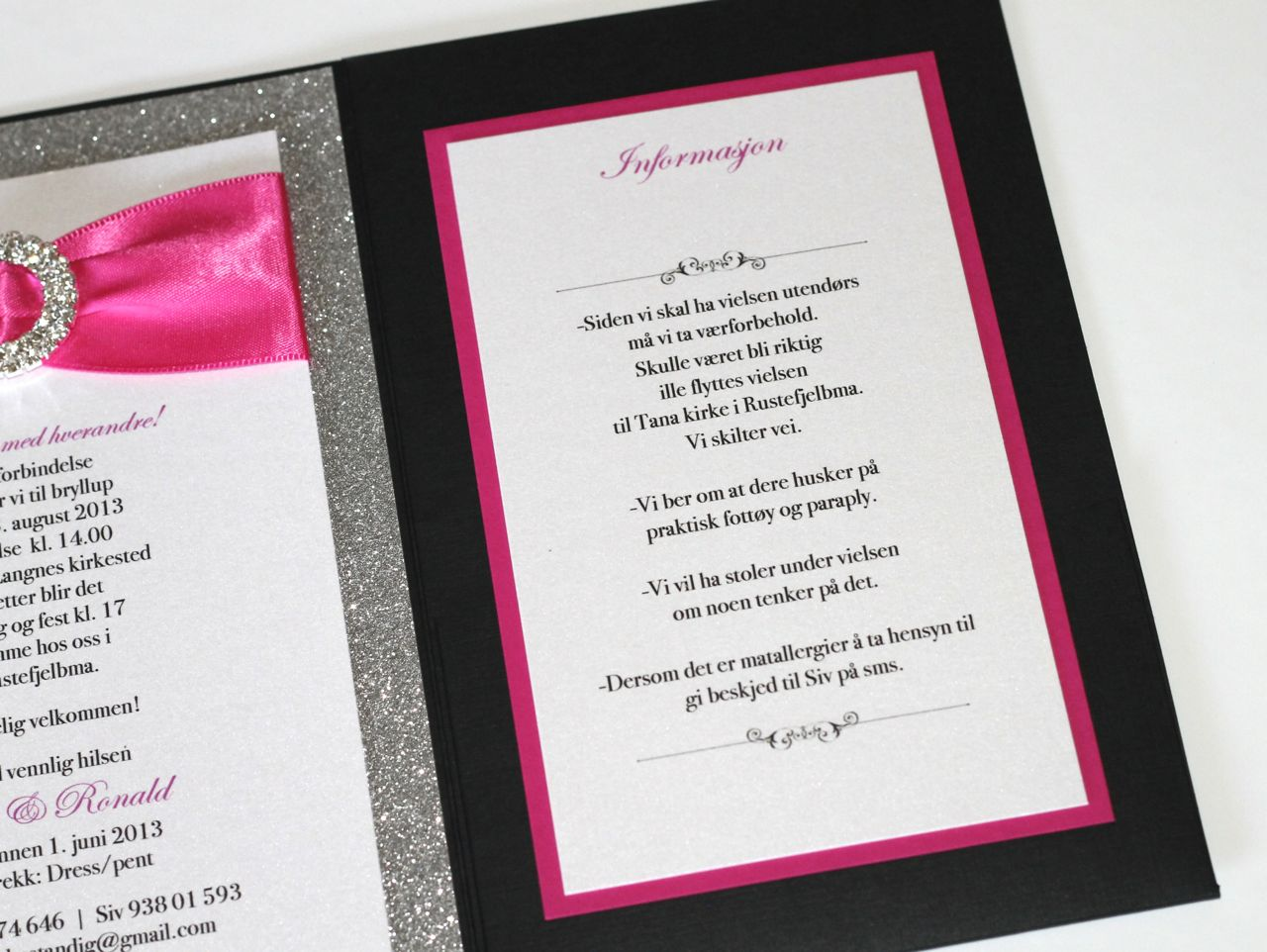 Silver Glitter, Hot Pink and Black Wedding Invitations - Embellished ...