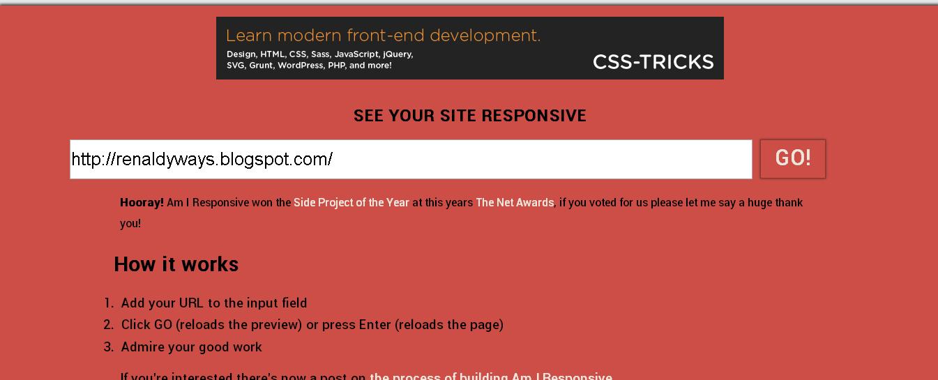 Cara Cek Tampilan Blog / Website Pada Desktop, Tablet, Dan Smartphone