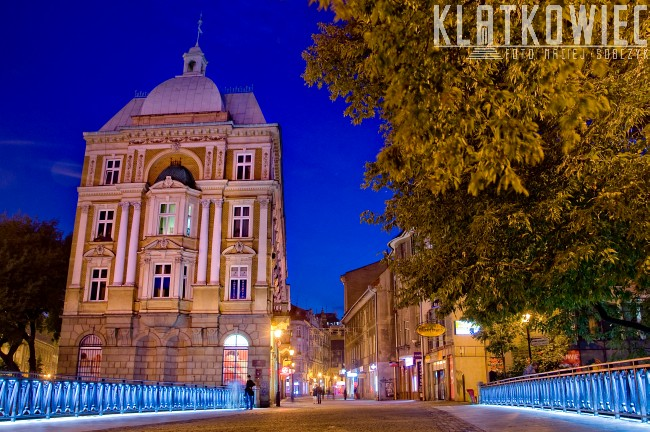 Bielsko-Biała. Miasto nocą.