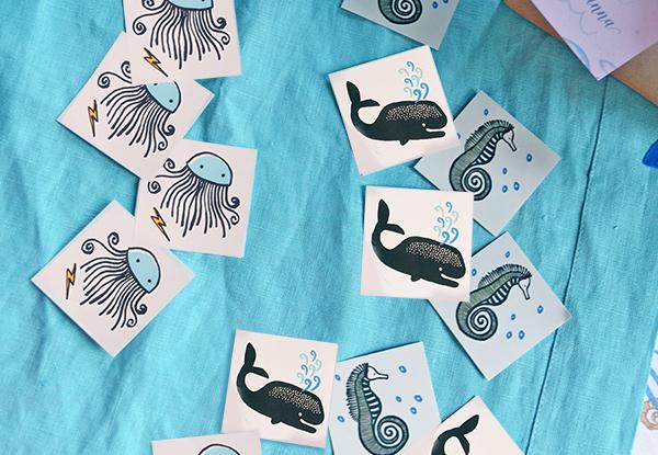 tatuaggi per bambini con pesci e cavallucci marini