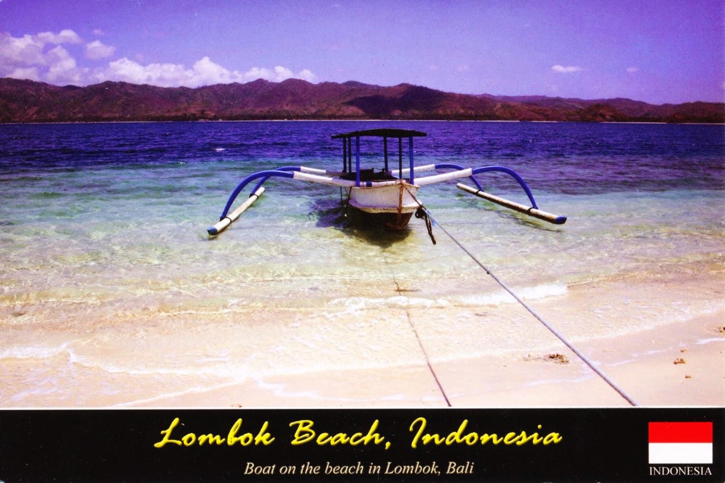 lombok, bali, indonesia, postcard